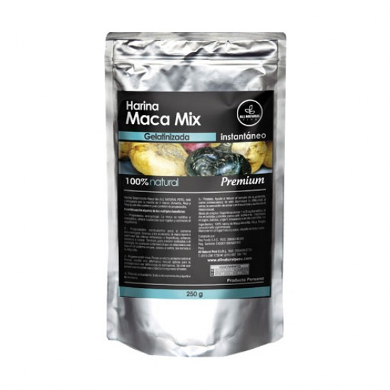 ALL NATURAL - PREMIUM MACA MIX GELATINIZED POWDER , SACHET X 250 GR