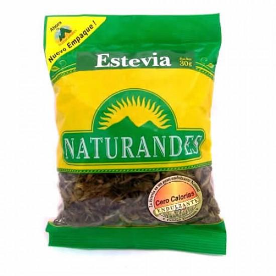 NATURANDES - PERUVIAN STEVIA LEAVES , BAG  X 30 GR