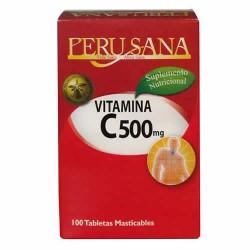 PERUSANA - VITAMIN C CAPSULES 500 MGR , JAR X 100 CHEWABLE TABLETS