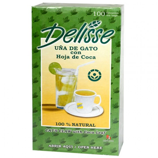 DELISSE - ANDEAN LEAF TEA WITH CAT'S CLAW , BOX OF 100 TEA BAGS